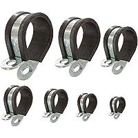 Abrazadera para tubo con perfil de goma P-clips recubiertos para asegurar tuberías cables mangueras: Ø 20mm / banda 15mm, 8 unidades