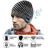 E-More Musik Bluetooth Mütze Beanie mit Stereo Kopfhörer und integrietem Mikrofon und Bedienfeld - Damen Männer Winter Strickmütze mit Bommel Headset für Outdoor Ski Joggen Wandern, integrieter Akku