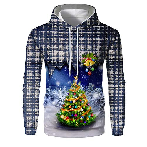 Qinhanjia Männer Frauen Lustige Weihnachtsbaum Pullover 3D Grafik Pullover mit Kapuze Sweatshirts für Weihnachtsfeier Plus Größe, Langarm Weihnachten Sweatshirt Hoodie Top (Grau, XL) -