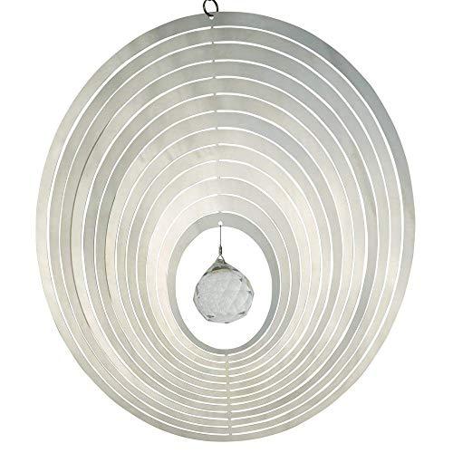 CIM Campanas de viento de acero inoxidable - ORBIT MIRROR CRYSTAL OVAL 200 - Ø 20 cm - bola de cristal Ø 3 cm con corte facetado - incluye cuerda de nailon, gancho y rodamiento de bolas giratorio.