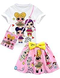 Camiseta de Baby Cute Dolls Confetti Pop + falda + bolso Lil Outrageous Little Girl Dress para niñas de Dgfstm