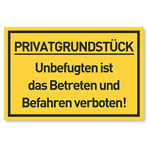 Privatgrundstück Schild | Betreten und Befahren verboten | Zutritt verboten Schilder | Durchgang Privat | 30x20 cm Kunststoff (Gelb)