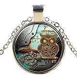 Ultra ® Uhrwerk Eule Style Halskette Classic Unisex Steampunk Halskette Great Style Unisex Gothic Cosplay Vintage Cyber Männer Frauen Schmuck Cosplay Schädel Zahnräder Designs