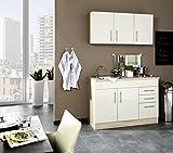 Miniküche 120 cm Hochglanz Creme mit Geräten und Spüle - Vancouver