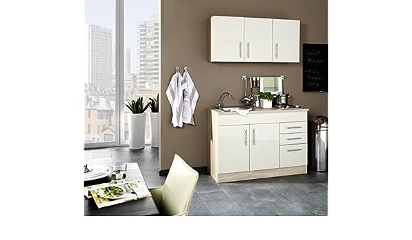 Miniküche 120 Cm Breit Mit Kühlschrank : Miniküche 120 cm hochglanz creme mit geräten und spüle vancouver