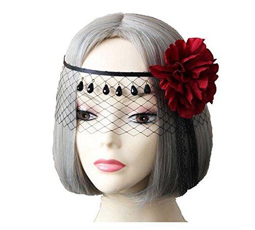 Schwarze Spitze Schleier Bedeckt Gesicht Blume Zeigen Haarspitze Maske Schleier Stirnband Versorgung für Nachtclubs / Maskerade / Halloween / (Halloween Versorgung)