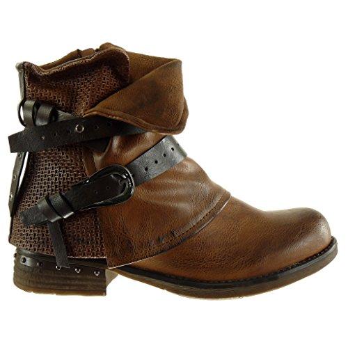 Angkorly - damen Schuhe Stiefeletten - Biker - Reitstiefel - Kavalier - Classic - Geflochten - String Tanga - Nieten - besetzt Blockabsatz high heel 3.5 CM Camel