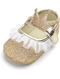 439a1f6a44a Slolvedi Baby Shoes for Girls Toddler Newborn Prewalker Anti-skid Lace Soft  Princess Shoes
