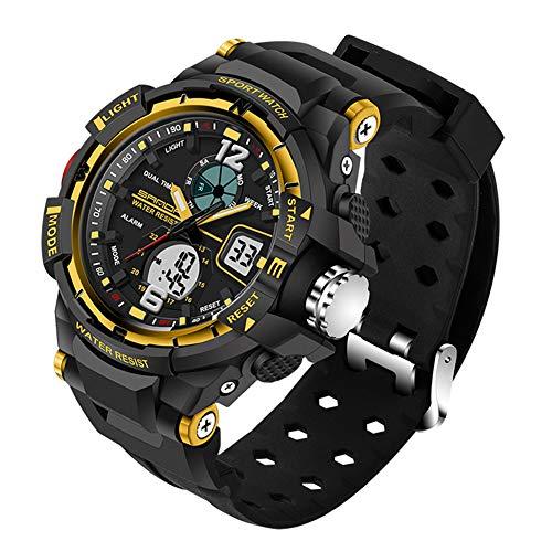 Multifunktions Wasserdicht Outdoor Sport Uhren/LED Licht/Weckerfunktion /Tough Stoßfest Armbanduhr (woman,Gold)