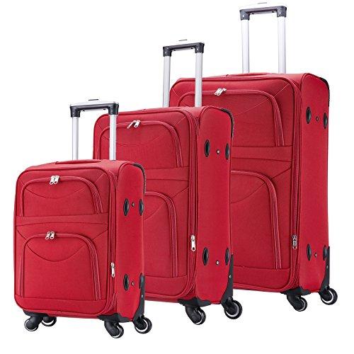 WOLTU RK4214rt Reisekoffer Stoff 4 Rollen , Reise Koffer Trolley 1200D Oxford Weichschale , Weichgepäck Reisegepäck Handgepäck M / L / XL / Set , leicht &...