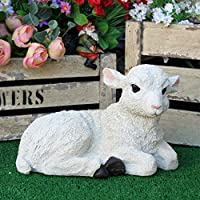 Best Value Here Lying Down Lamb Garden Sculpture White Resin Animal Sheep Lawn Ornament Statue (Lying Down Lamb)