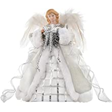 Silver & White Angel Decoration Christmas Tree Top Topper with Feather Wings - 30cm