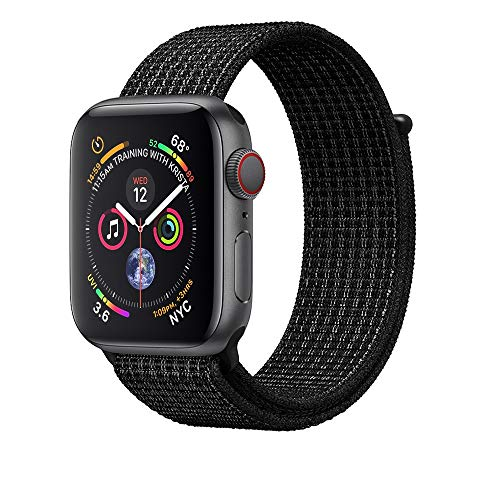 Corki pour Bracelet Apple Watch 42mm 44mm, Nylon Bracelet de Remplacement Bande pour Apple Watch iWatch Séries 4 (44mm), Séries 3/ Séries 2/ Séries 1 (42mm), Noir/Platine Pur