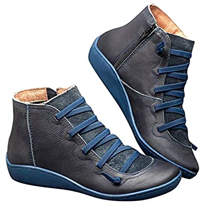 2019 New Women's Ankle Boots Ladies Casual Arch Support Boots Waterproof Boots Flat Slip On Boots Comfy Booties Vintage High Top Side Zipper Shoes Outdoor Anti-Slip Walking Boots 4
