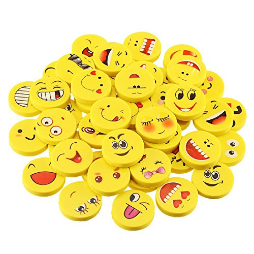 Tofree 100 stücke Cartoon Radiergummis Smiley Emoji Nette Rubbers Kreatives Briefpapier für Kinder (Mini Bulk Strümpfe)