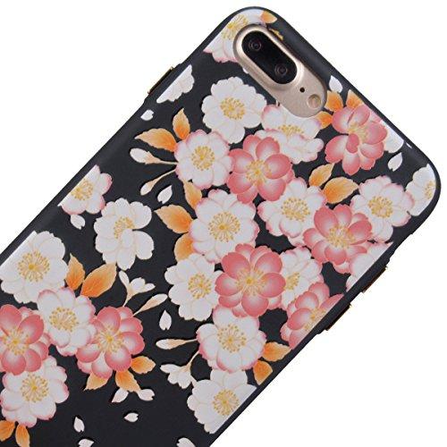 "GrandEver Coque iPhone 7 Plus 5.5"" Silicone Noir Mat Etui Flexible Rubber Gel Soft Doux Ultra Mince Fine Case Anti Rayure Antichoc Slim Léger Housse de protection pour iPhone 7 Plus 5.5"" --- Sakura Ro Sakura Rose"