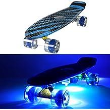 Skateboard cruiser avec roues lumineuses LED, style Penny avec 5 lampes à coller