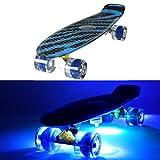 MAKANIH® LED Skateboard mit Leuchtrollen, leuchtend, Penny Style Longboard street cruiser beleuchtung + 5 Klebelichter (blau / schwarzes Muster)