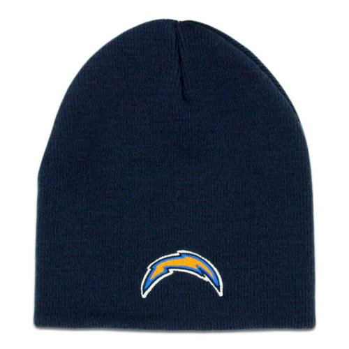 San Diego Chargers Navy Blue Skull Cap - NFL Bolts Cuffless Beanie Knit Hat -
