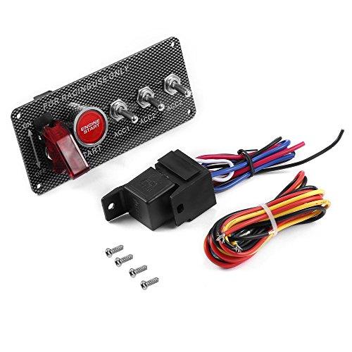 Fibre de carbone Racing voiture 12 V LED interrupteur d'allumage panneau de démarrage du moteur bouton poussoir (couleur: noir)