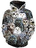 Fanient Teens Boys Hoodie Bunte Eule Print Langarm Pullover