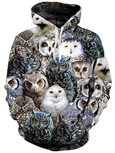 oodie Bunte Eule Print Langarm Pullover ()