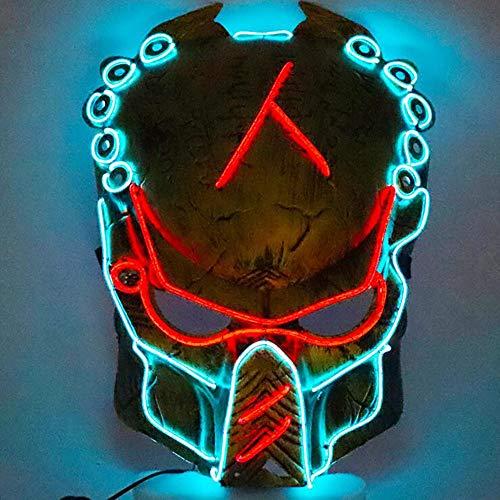TongNS1 Halloween Maske LED weibliche Gesicht Glüht Maske des Clowns Erwachsene volle Gesicht Straßentanz-Horrorstützen, PVC-Plastik,verwendbar für - Alte Zeit Geist Kostüm
