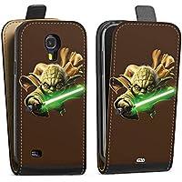 Samsung Galaxy S4 Tasche Hülle Flip Case Star Wars Merchandise Fanartikel Yoda Lichtschwert