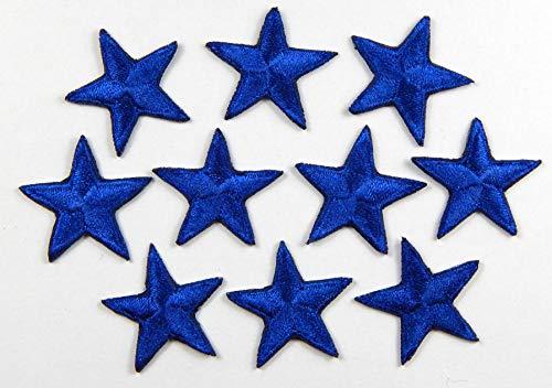 Packung mit 10 Blau stickte Eisen auf oder nähen auf Sterne-Patch (Fußball-eisen Flecken Auf)