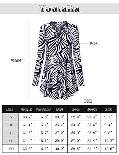 Youtalia Frauen Floral Bedruckt V Ausschnitt Langarm Locker Sitzend Freizeit Tunika Bluse Oberteile Kleid Multicolor Black