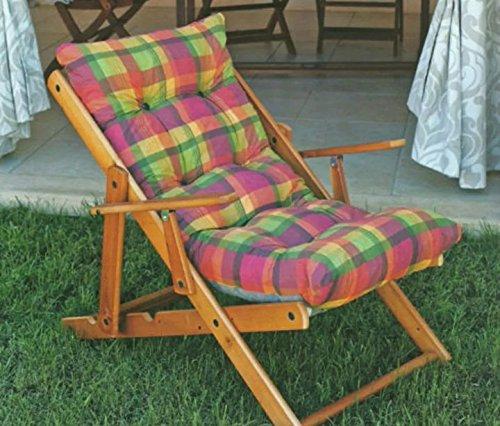 Sedie A Sdraio In Legno Imbottite.Poltrona Sedia Sdraio Relax 3 Posizioni In Legno Pieghevole