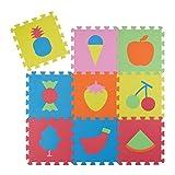 Relaxdays Puzzle Spielmatte 28 tlg, Obst Motiv Kindermatte, EVA Schaumstoff, Puzzlematte BxT: 90 x 90 cm, bunt