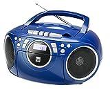 Kassettenradio mit CD • UKW-Radio • Boombox • CD-Player • Stereo Lautsprecher • AUX-Eingang • Netz- / Batteriebetrieb • Tragbar • Blau • Dual P 70