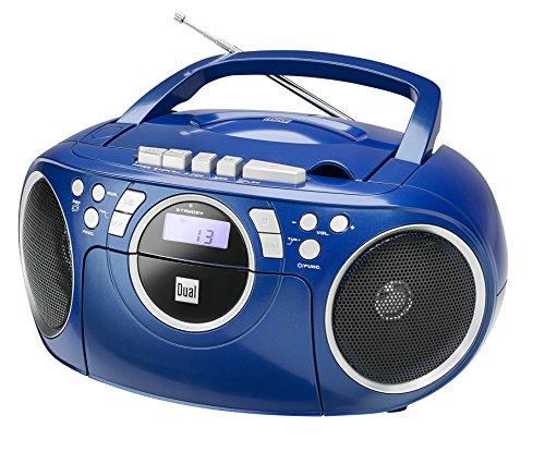 Kassettenradio mit CD • UKW-Radio • Boombox • CD-Player • Stereo Lautsprecher • AUX-Eingang • Netz- / Batteriebetrieb • Tragbar • Blau • Dual P 70 (Blau, Cd Player)