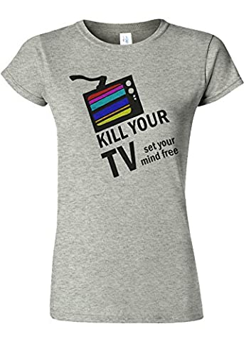 Kill Your TV Set Your Mind Free Novelty Sports Grey Femme Women Top T-Shirt-XXL