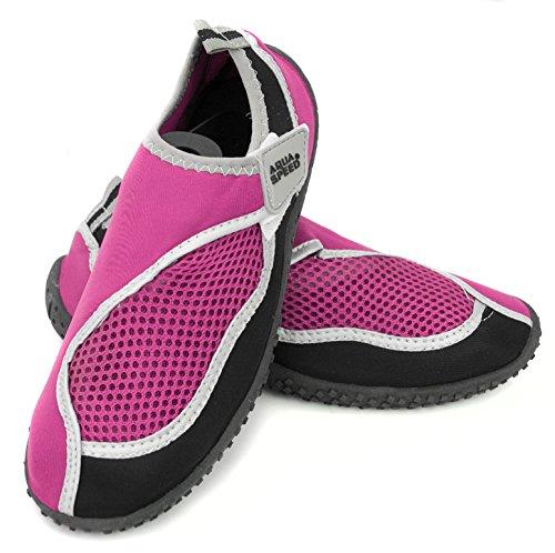 AQUA-SPEED® AQUA-SCHUHE Model 26 (Größen: 22-40 Unisex Anti-Rutsch-Struktur Schwimmbad Swimmingpool Klettverschlüsse Neopren) Pink-Black-Silver
