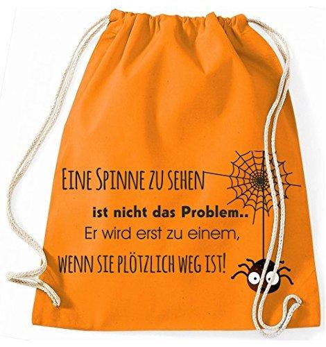 Mein Zwergenland Jutebeutel Eine Spinne zu sehen ist nicht das Problem, 12L, Surfblue Orange