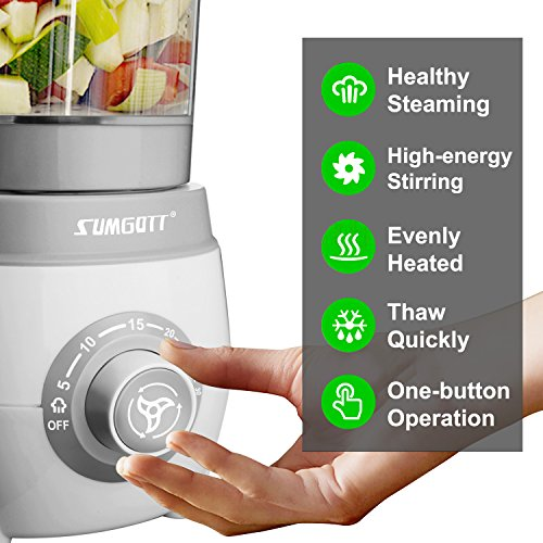 SUMGOTT Babynahrungszubereiter - 4 in 1 Babynahrung Dampfgarer und Mixer mit Dämpfen, Mixen, Auftauen und Heizung Multifunktionen Küchenmaschine - 3