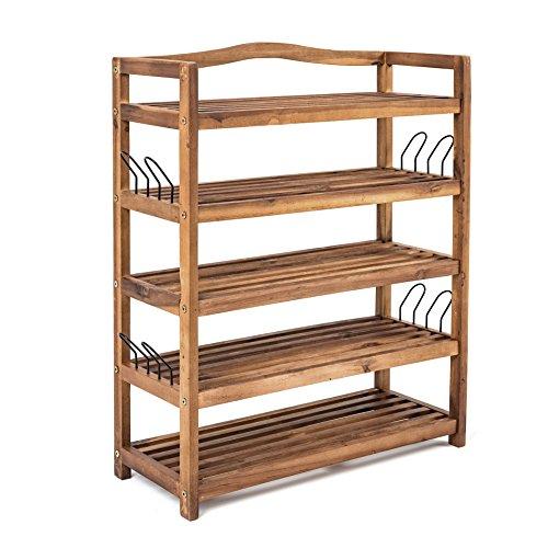 Holz Schuhregal mit 5 Etagen, Schuhschrank, Regal, Schuhablage, zum aufhängen mit Haken