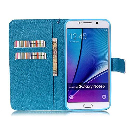 Copertura per Samsung Galaxy Note 5 in pelle, Samsung Galaxy Note 5 Custodia Portafoglio, Note 5 Case Cover, Ukayfe blue Wave-this iphone is locked Design dellunità di elaborazione di vibrazione del  blue Wave-this iphone is locked