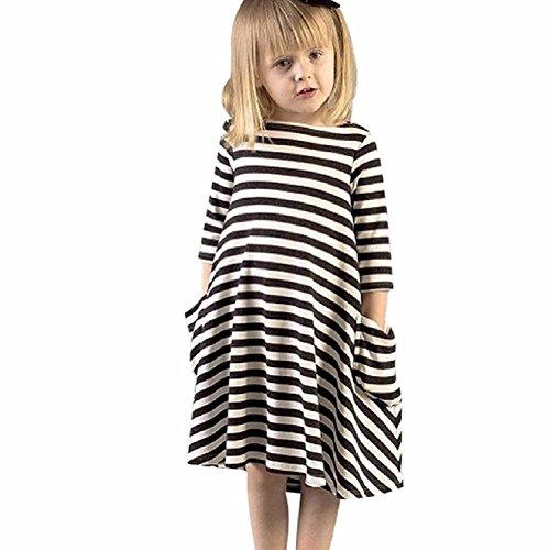Minetom Sommer Kinder Mädchen Prinzessin Shirts Kleider Süß Schwarz Weiß Gestreiften Rundhals Langarm Sommerkleid Partykleid Streifen 90 (Bestickte Mädchen Jeans-rock)
