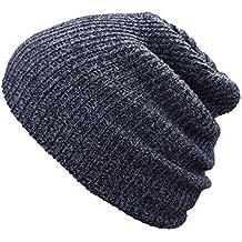 Shappy Gorro Beanie Unisex de Punto de Invierno Gorra Beanie Sombrero de Lana para Adultos de Hombres y Mujeres, Negro y Gris