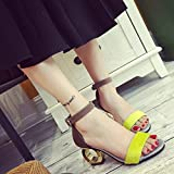 DM&Y 2017 High-heeled personality with a character with a frosty sexy toe shoes sandals , yellow , 39