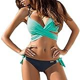 Evedaily Damen Push Up Bikini Set Neckholder Strappy Bandeau Bademode Badebekeidung Strand Badeanzug Gepolstert Blumen Druck (Blaugrün, L)