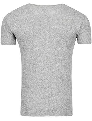Star Designer Young & Rich T-Shirt Basic Uni Deep V-Neck Knopfleiste Buttons V-Ausschnitt D.G in verschiedenen Farben Grau