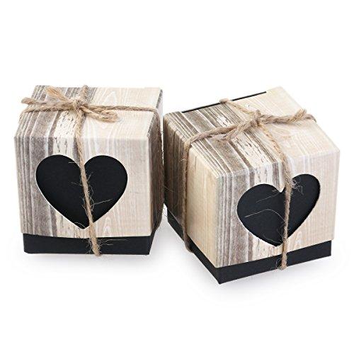 Leorx rustico love hearts vintage shabby chic bomboniera scatole–100pezzi