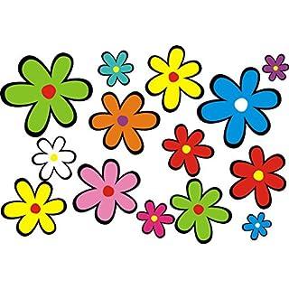 aufgeklebt.de Mini-Autoaufkleber, Blumendesign: Mini 01-51 Stück - bunt gemischt!