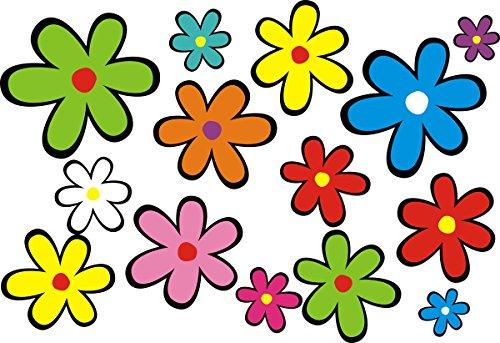 aufgeklebt.de Mini-Autoaufkleber, Blumendesign: Mini 01-51 Stück - bunt gemischt! (Blume Auto Aufkleber)