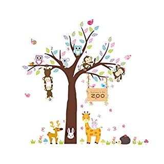AWAKINK Cartoon Tree Lovely Animals Owl Rabbit Giraffe Monkey Wall Stickers Wall Decal Vinyl Removable Art Wall Decals for Girls and Boys Nursery Room Children's Bedroom