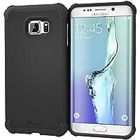 Galaxy S6Edge + Funda, rooCASE [Exec Tough] S6Edge + Slim Fit Funda Carcasa [Protección de la esquina] Armor Hybrid PC/TPU para Samsung Galaxy S6Edge Plus (2015), plástico, Granite Black, Galaxy S6 Edge+